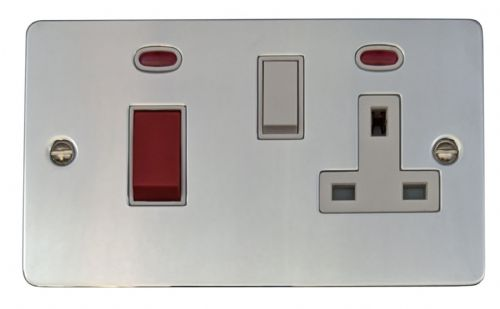 G&H FC29W Flat Plate Polished Chrome 45 Amp DP Cooker Switch & 13A Switched Socket